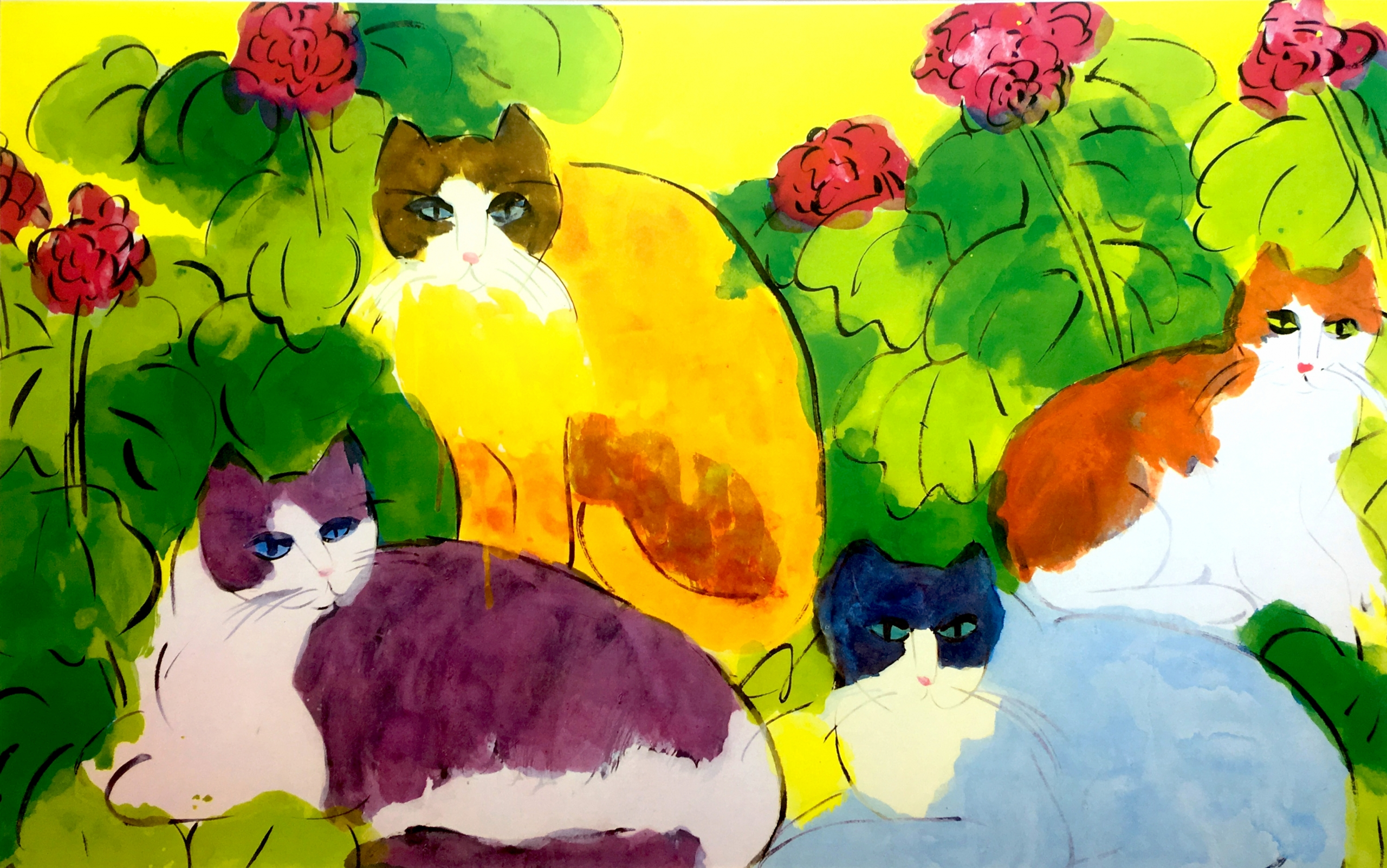 Four Cats in vibrant Flowers