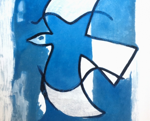 Blue and white abstract bird by Braque