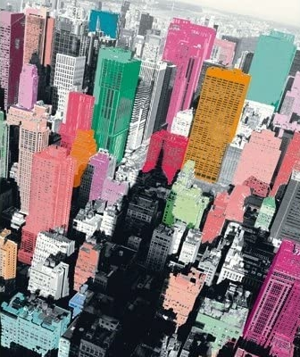 New York skyline from above, in black, white and unreal colour washes