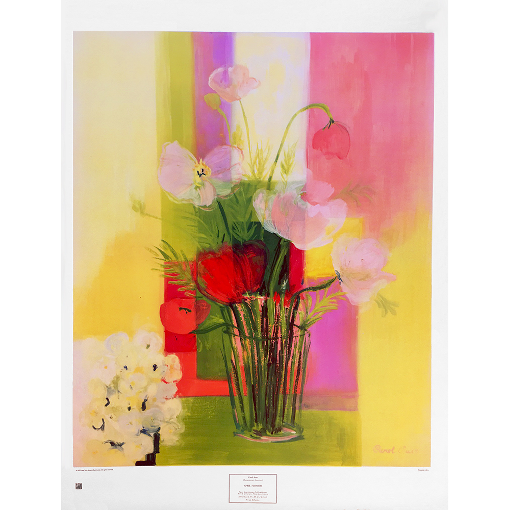 April Flowers by Carol Auer - colourful washes in pink, creamy yellow, bright red and greens of a glas with daisy, tulips, loose roses and wild flowers - Buro Art Spring SALE - £80.00 £72.00