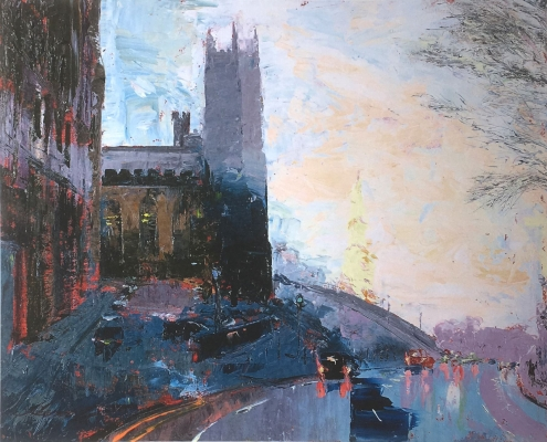 Modern, Impressionist View of the top of the mound, Edinburgh in purple tones