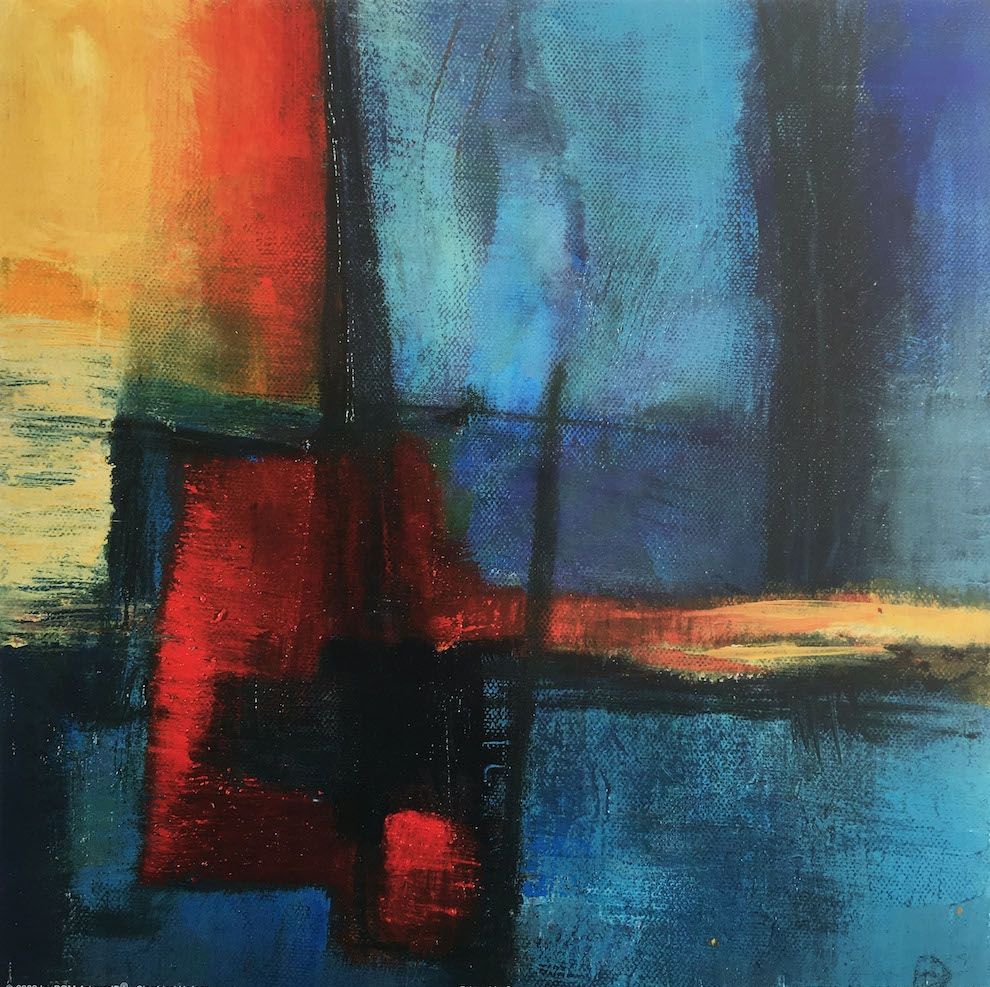 Painterly, textured abstract, divided loosely into 5 rectangles - 3 blue , 1 red and one sunset tones, bleeding into horizon line. Majority in blues and blacks.