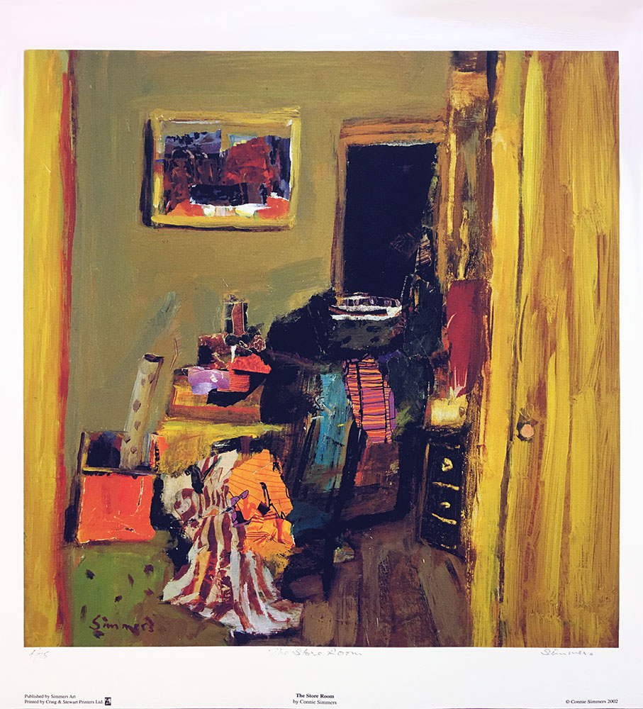 Warm, vibrant colours bring energy and beauty to a store room full of striped fabric, discarded artefacts with framed art on wall, all seen through door way like you are spying!