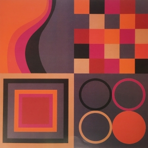 Abstract geometric print in reds, oranges, magentas and deep purples, featuring grids, circles, waves and concentric squares