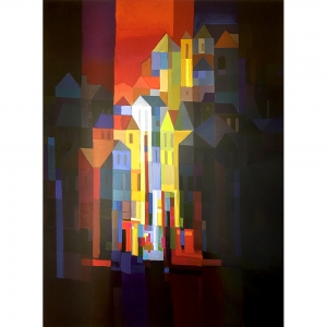 A graphic painting of a high rise town at night, feels dutch. Jewel like reds, yellows and blues brought to life by dark boarder.