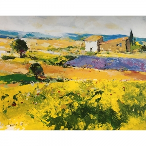A painterly, textured print from an original oil painting of vibrant yellow green fields with lavender and a small house with lean-to shed. Perhaps olive trees, pencil pines and rolling hills to the distance suggest Southern European landscape.