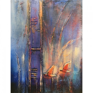 Heavily textured oil paint creates a grid, some arcs and the profile of 2 sailing boats. Ombre pallete of blues and blacks is perhaps worked into with buttery yellow, red ad turquoise pastels to add highlights and energy to this textured, tonal print.