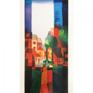Graphic, playful painting of a town with trees, stained glass feeling in strong reds, greens and blues, with white dominating the sky