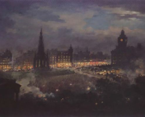 View of Princes Street from above featuring The Scott Monument and the North British Hotel